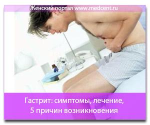 Гастрит: симптомы, лечение, 5 причин возникновения