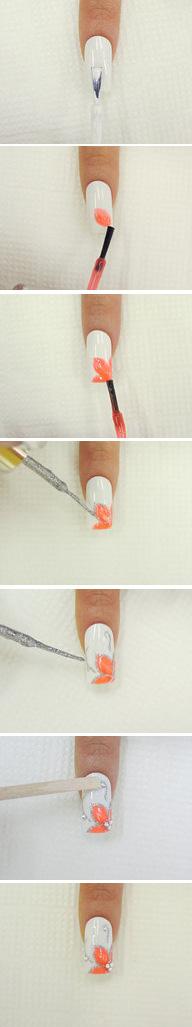 Урок цветов на ногтях