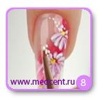 Цветы на ногтях: белая ромашка. Шаг №8