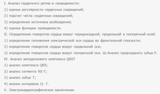 Общая схема расшифровки ЭКГ