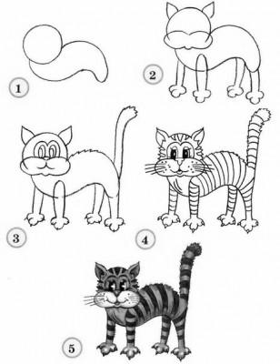 Как рисовать котёнка: схема № 10