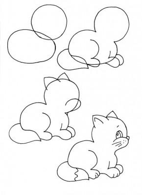 Как рисовать котёнка: схема № 11