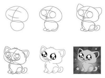 Как рисовать котёнка: схема № 12