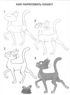 Как рисовать котёнка: схема № 14