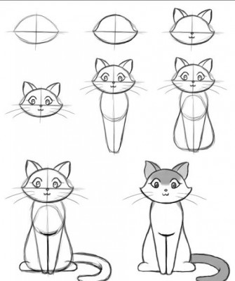 Как рисовать котёнка: схема № 17