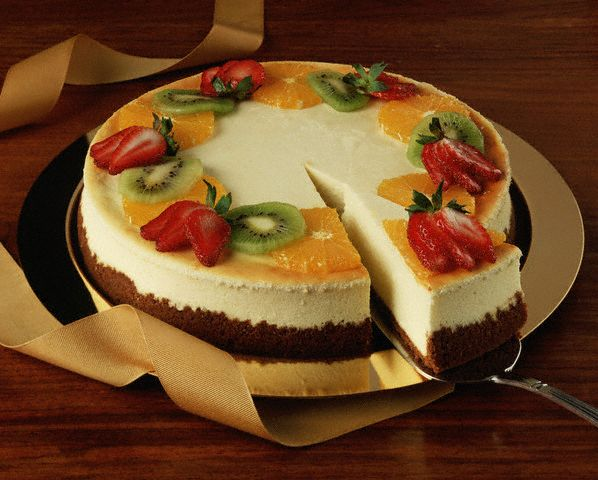 Cheesecake Garnished with Fresh Fruit
