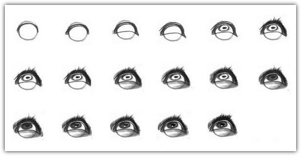 Как нарисовать глаза: схема №10