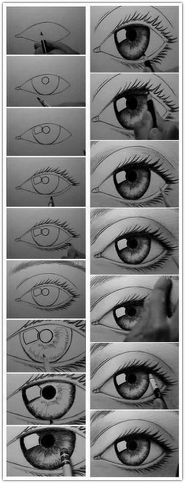 Как нарисовать глаза: схема №3