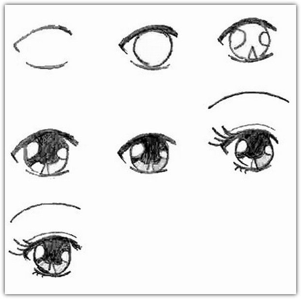 Как нарисовать глаза: схема №6