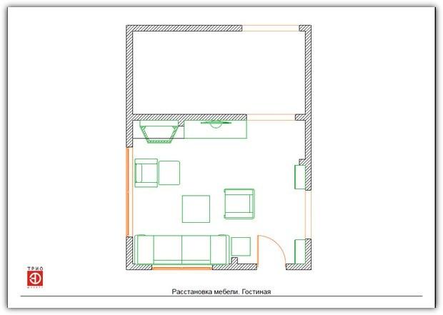Схемы расстановки мебели. Схема №4