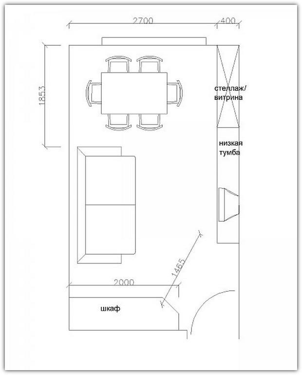 Схемы расстановки мебели. Схема №7