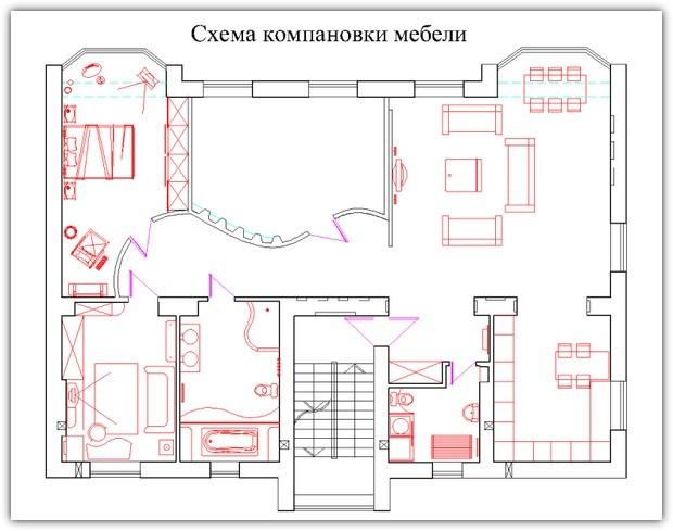 расстановки студии в схемы мебели